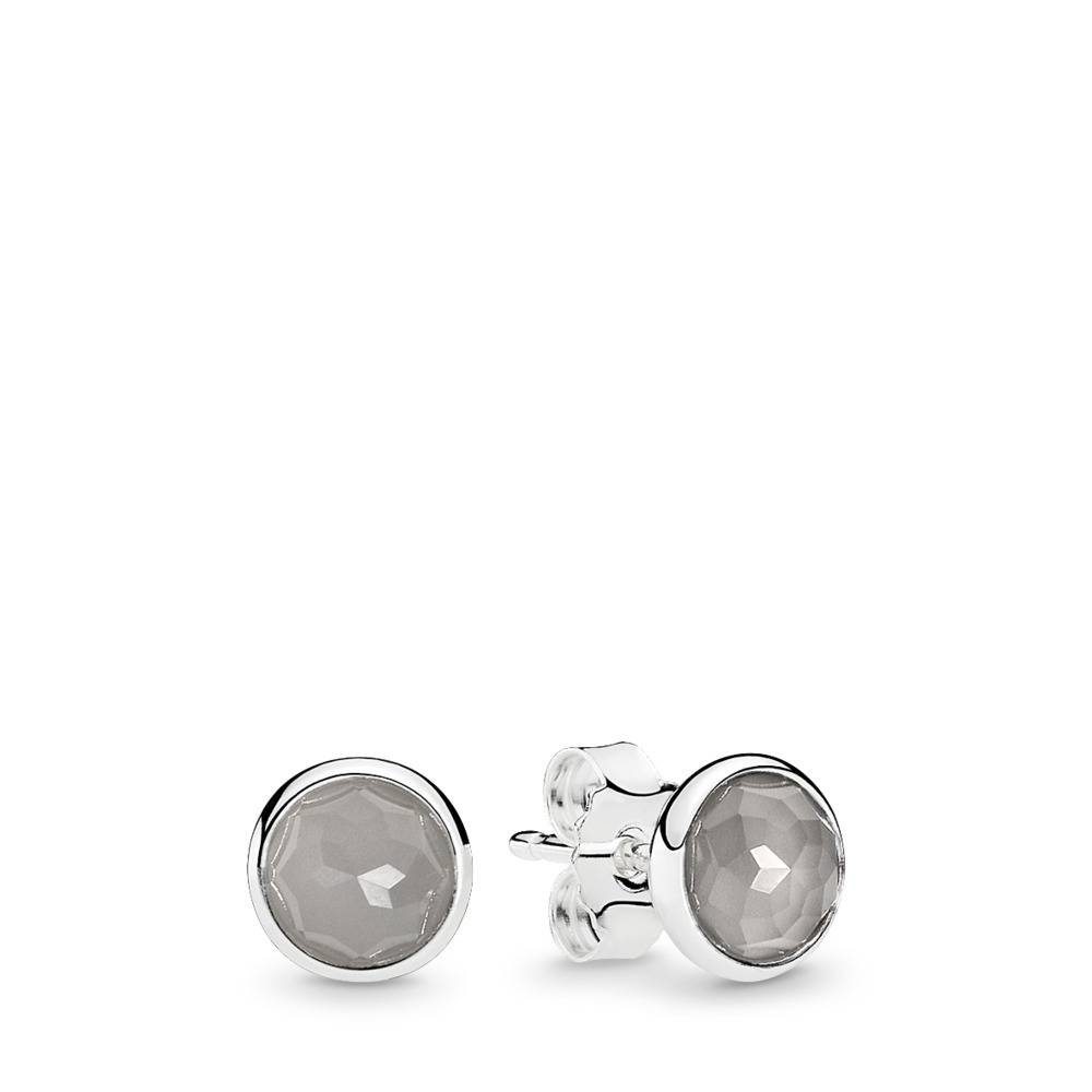 June Droplets Stud Earrings, Grey Moonstone, Sterling silver, Grey, Moonstone - PANDORA - #290738MSG