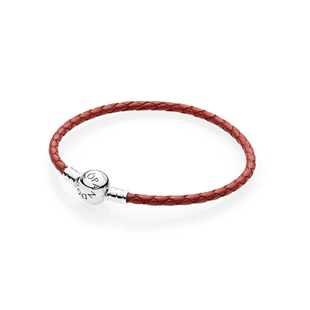 da6c33cd3 Red Braided Leather Charm Bracelet, Sterling silver, Leather, Red - PANDORA  - #