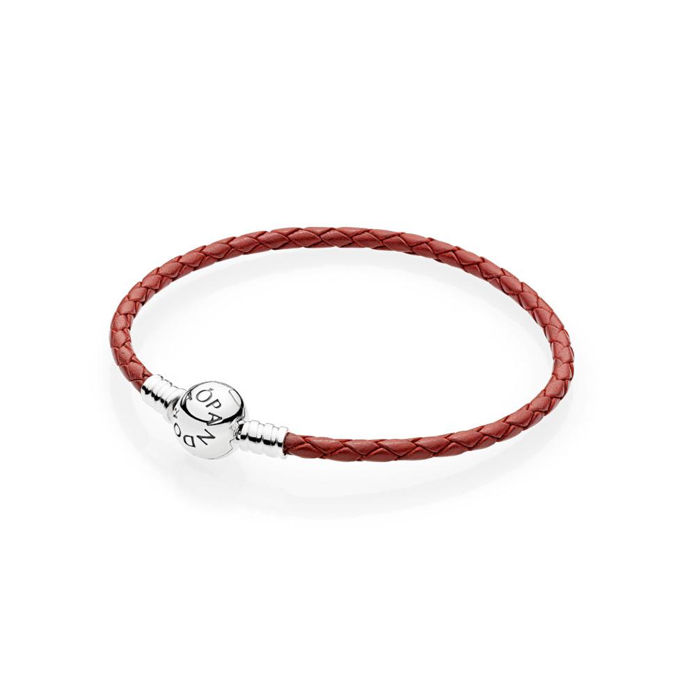 Pulsera Moments, en cuero trenzado rojo, Plata, Cuero, Rojo, Sin piedra - PANDORA - #590745CRD-S