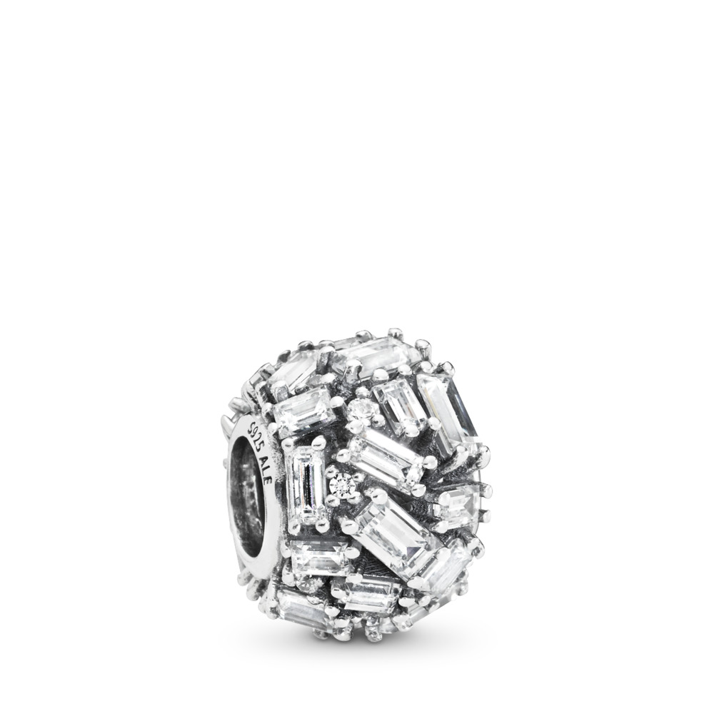 Chiselled Elegance Charm, Clear CZ, Sterling silver, Cubic Zirconia - PANDORA - #797746CZ