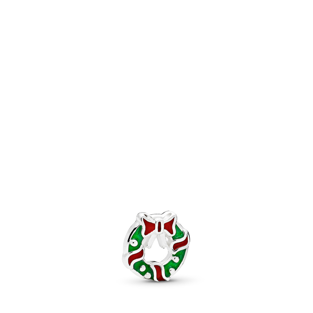 Holiday Wreath Petite Locket Charm, Berry Red & Green Enamel, Sterling silver, Enamel, Green - PANDORA - #796397ENMX