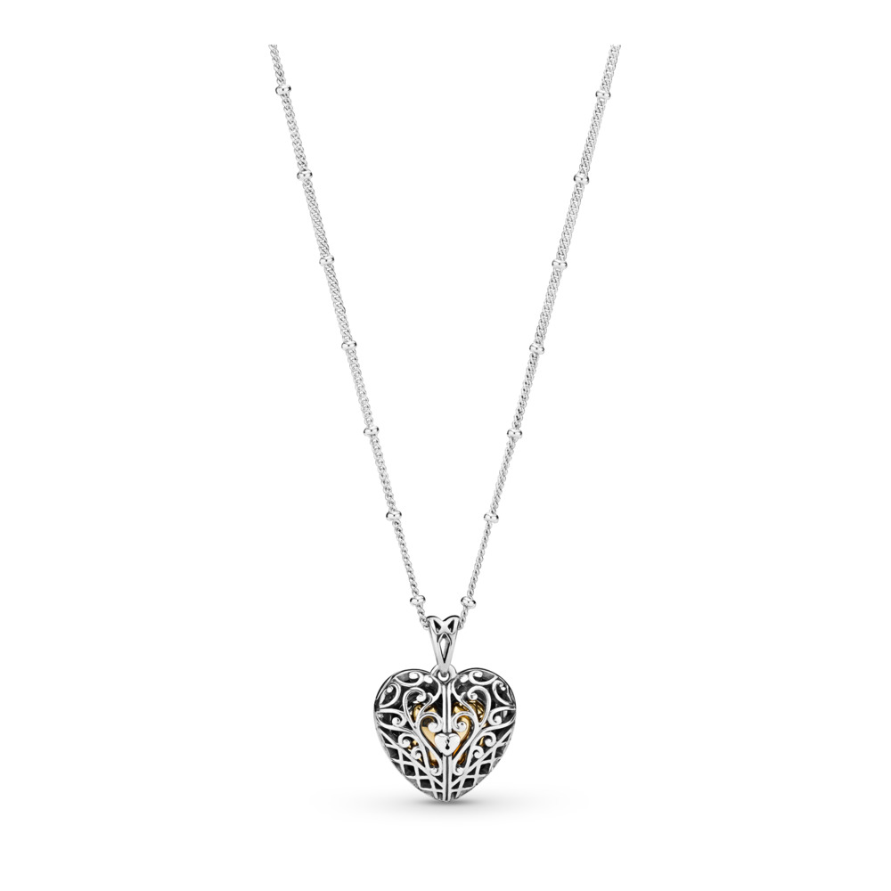 Gate of Love Necklace, PANDORA Shine and sterling silver, Silicone - PANDORA - #367734