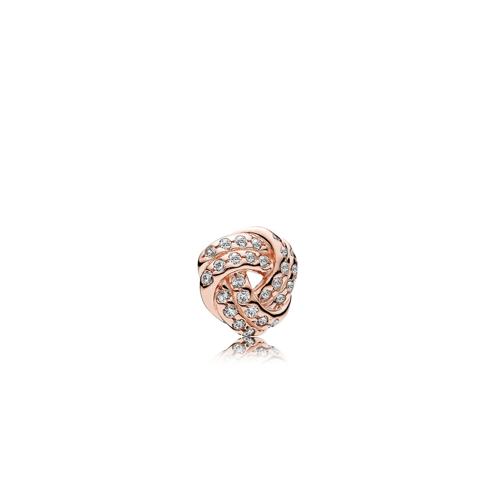 Sparkling Love Knot Petite Locket Charm, PANDORA Rose™ & Clear CZ