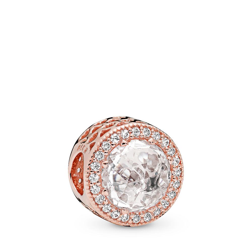 Radiant Hearts Charm, PANDORA Rose™ & Clear CZ, PANDORA Rose, Cubic Zirconia - PANDORA - #781725CZ