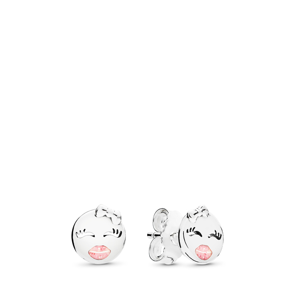 Playful Winks Stud Earrings, Light Pink Enamel, Sterling silver, Enamel, Pink - PANDORA - #297102EN161