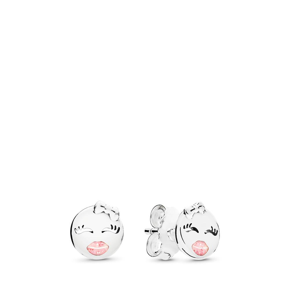 Playful Winks Stud Earrings, Light Pink Enamel, Sterling silver, Enamel, Pink - PANDORA - #297102EN161