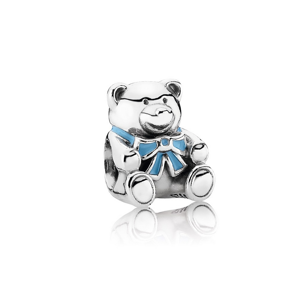 """It's A Boy"" Teddy Bear Charm, Blue Enamel"