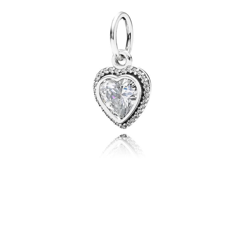 Sparkling Love Pendant, Clear CZ, Sterling silver, Cubic Zirconia - PANDORA - #390366CZ