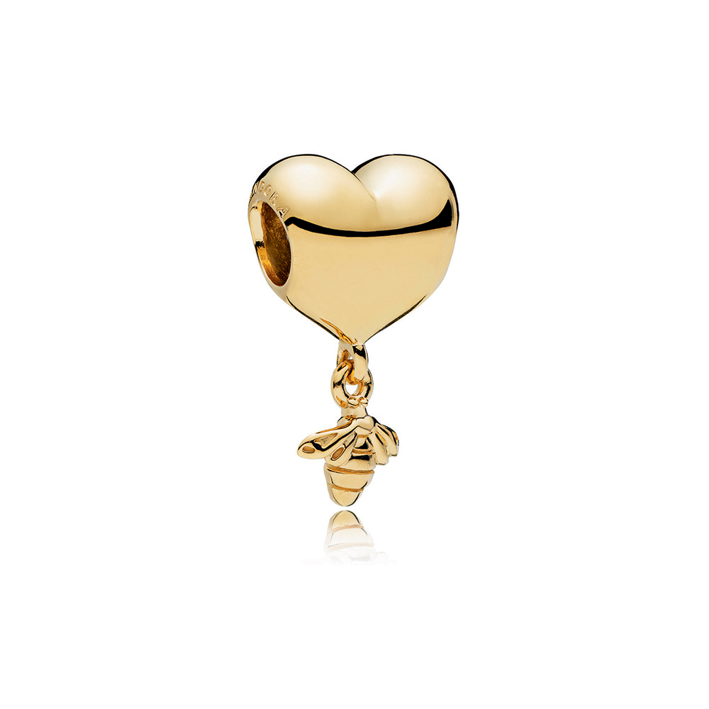 Heart & Bee Charm, PANDORA Shine™