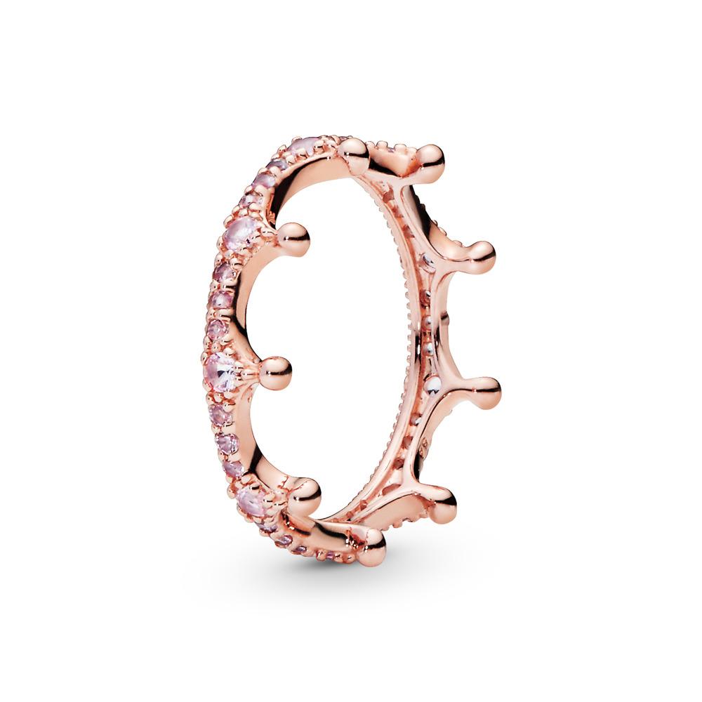 Pink Enchanted Crown Ring, PANDORA Rose™, PANDORA Rose, Pink, Crystal - PANDORA - #187087NPO