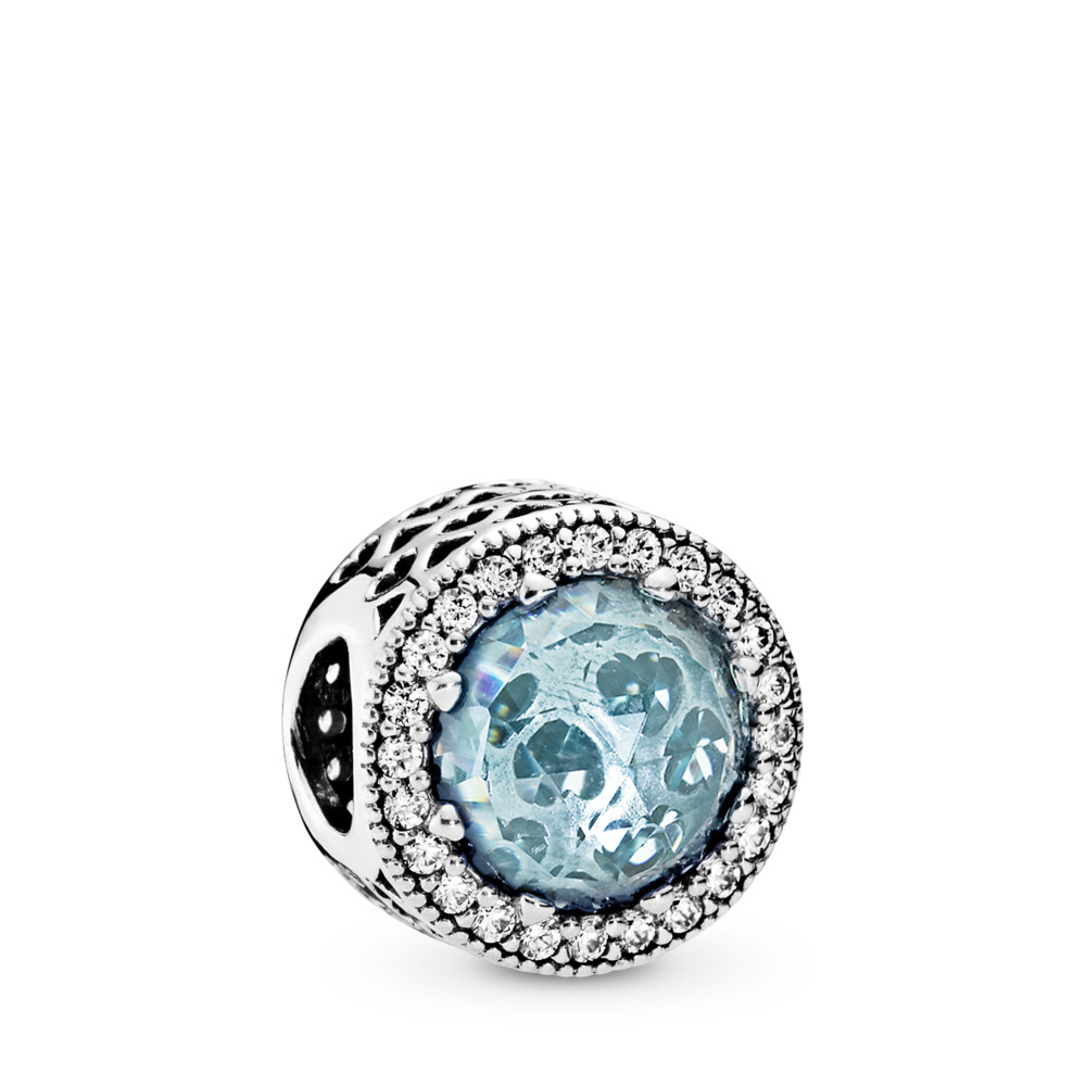 Radiant Hearts Charm, Glacier-Blue Crystals & Clear CZ, Sterling silver, Blue, Mixed stones - PANDORA - #791725NGL