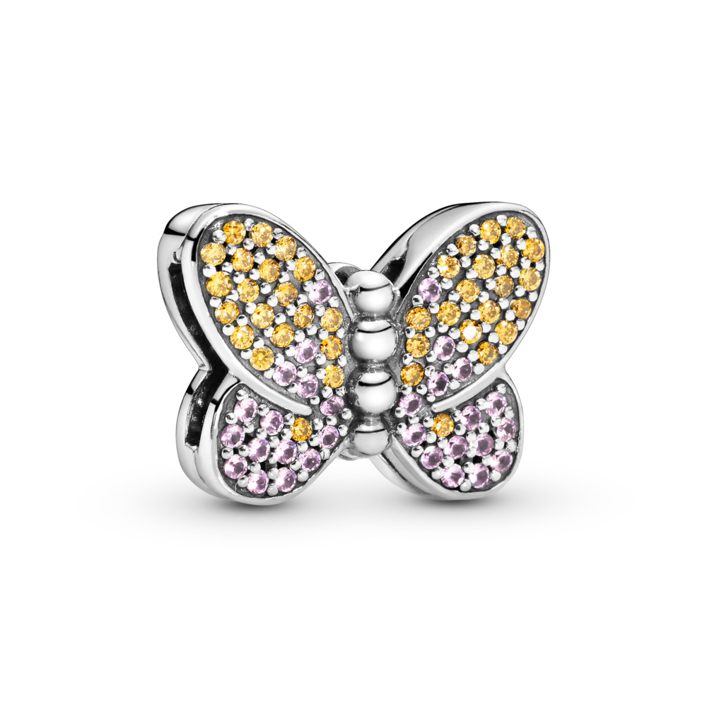 Pandora Reflexions™ Bedazzling Butterfly Clip Charm, Sterling silver, Silicone, Pink, Mixed stones - PANDORA - #797864CZM