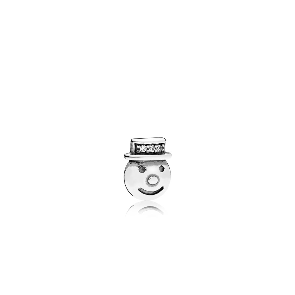 Happy Snowman Petite Locket Charm, Clear CZ