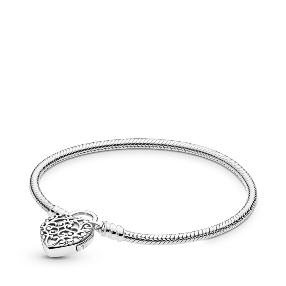 Smooth Silver Padlock Bracelet, Regal Heart, Sterling silver - PANDORA - #597602