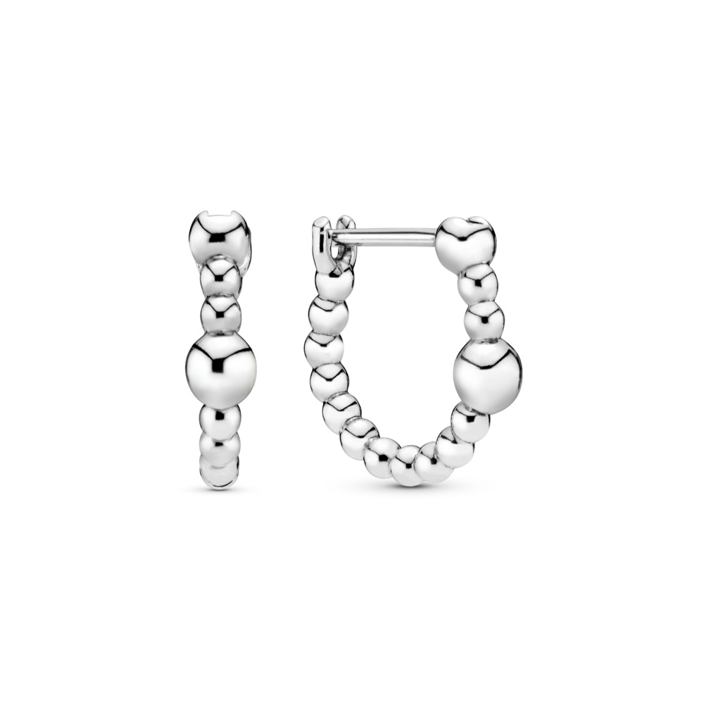 String of Beads Hoop Earrings, Sterling silver - PANDORA - #297532