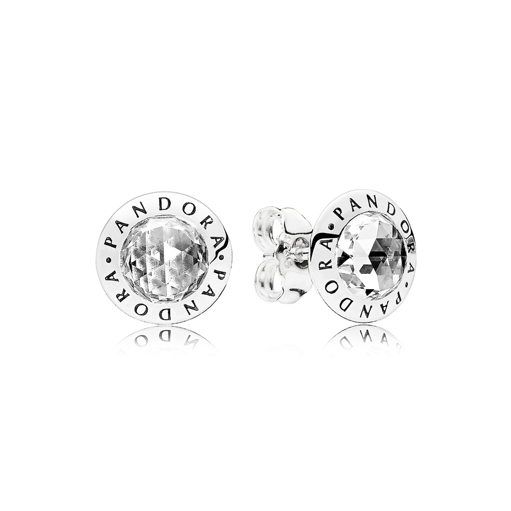 Radiant Pandora Logo Stud Earrings Clear Cz