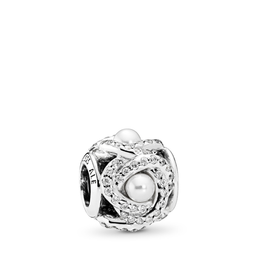 Luminous Love Knot, White Crystal Pearl & Clear CZ, Sterling silver, White, Mixed stones - PANDORA - #792105WCP