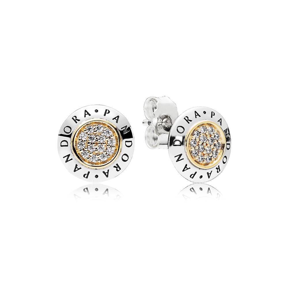 PANDORA Signature Stud Earrings, Clear CZ