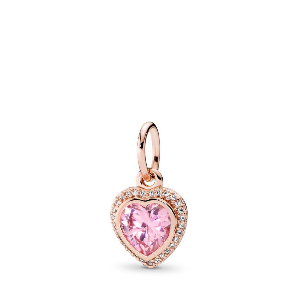 Sparkling Love Pendant, PANDORA Rose™ & Pink & Clear CZ, PANDORA Rose, Cubic Zirconia - PANDORA - #380366PCZ