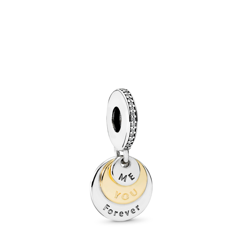 You & Me Forever Dangle Charm, Clear CZ, Two Tone, Cubic Zirconia - PANDORA - #791979CZ