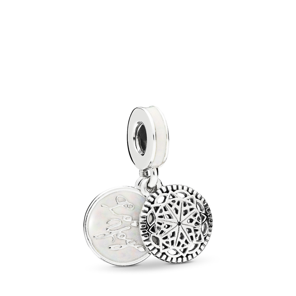True Yoga Dangle Charm, Silver Enamel, Sterling silver, Enamel, White - PANDORA - #796205EN23