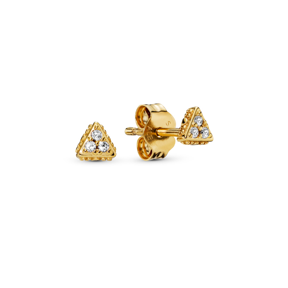 Sparkling Triangles Stud Earrings, Pandora Shine™, 18ct Gold Plated, Cubic Zirconia - PANDORA - #268030CZ