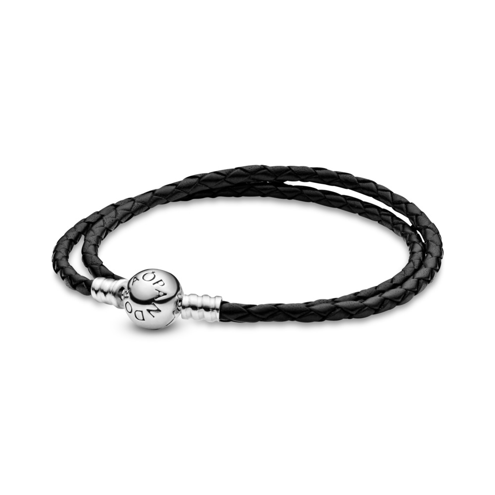 ba5d1556a Black Braided Double-Leather Charm Bracelet, Sterling silver, Leather, Black  - PANDORA. Sliding Black Leather Bracelet, Clear CZ