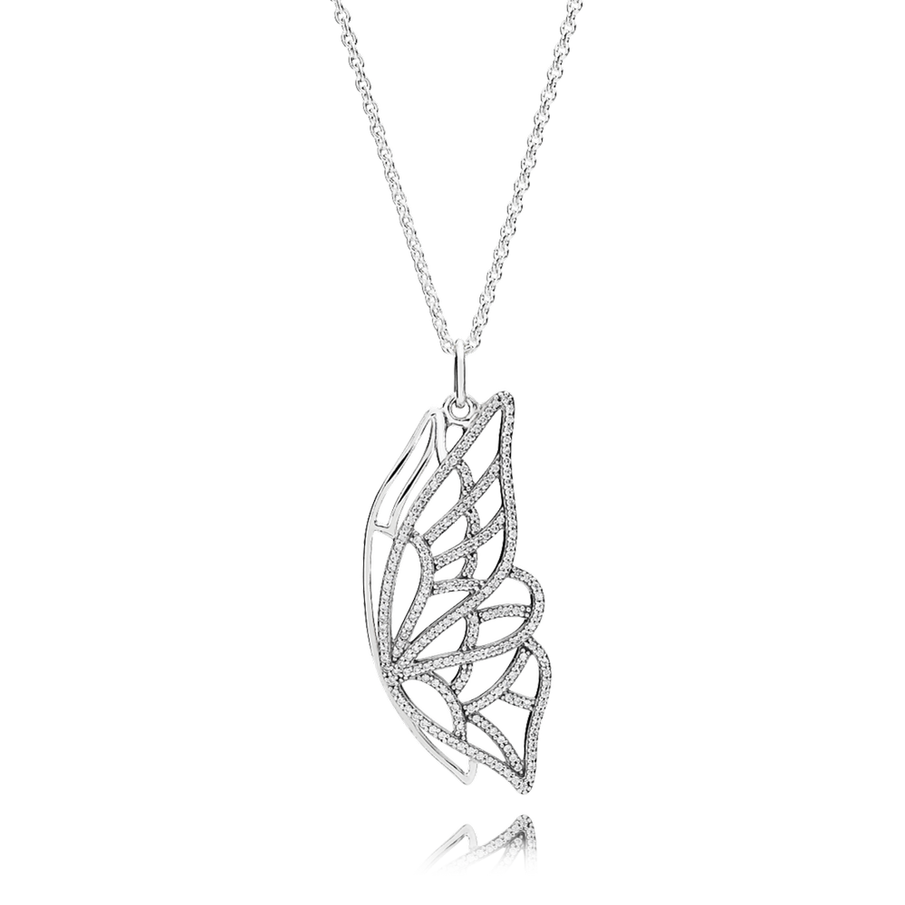 New Beginning Butterfly Pendant Necklace, Clear CZ, Sterling silver, Cubic Zirconia - PANDORA - #390367CZ