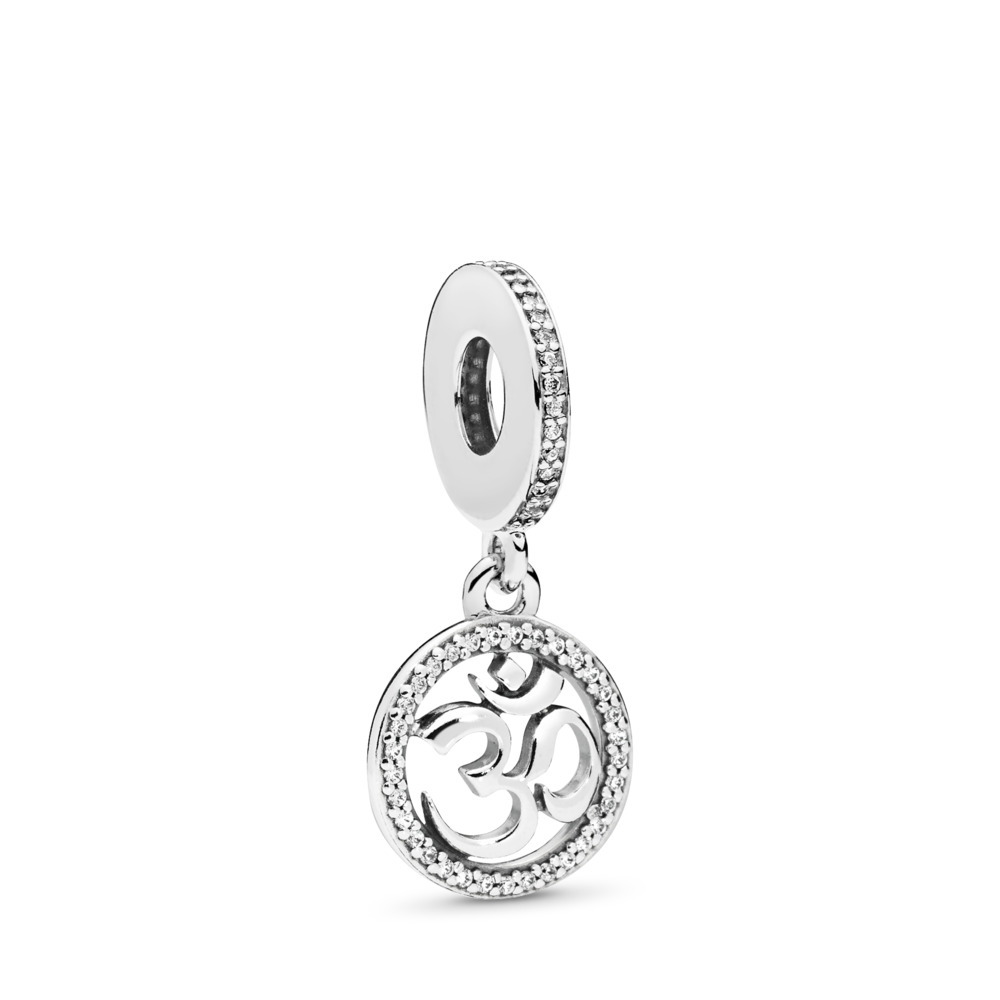 4e6701dca Om Symbol Dangle Charm, Clear CZ, Sterling silver, Cubic Zirconia - PANDORA  -