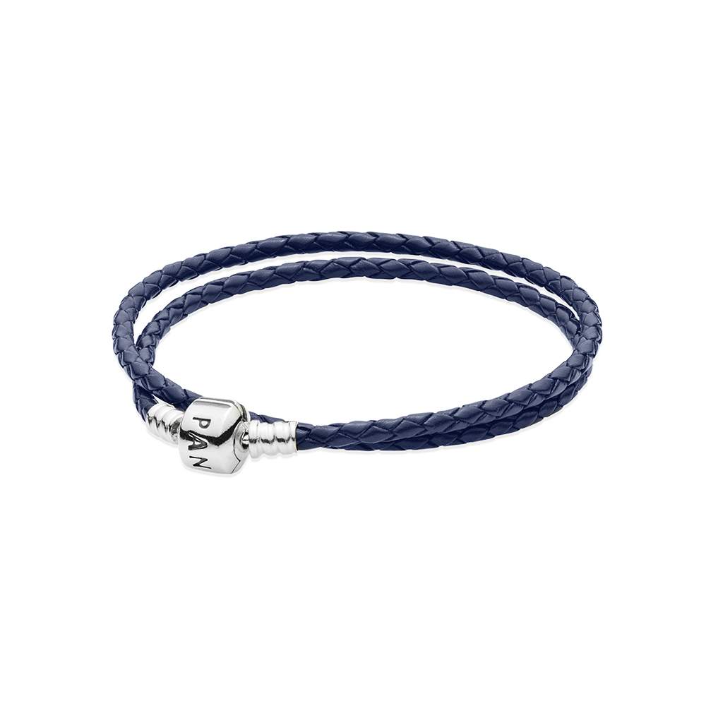 Dark Blue Braided Double-Leather Charm Bracelet