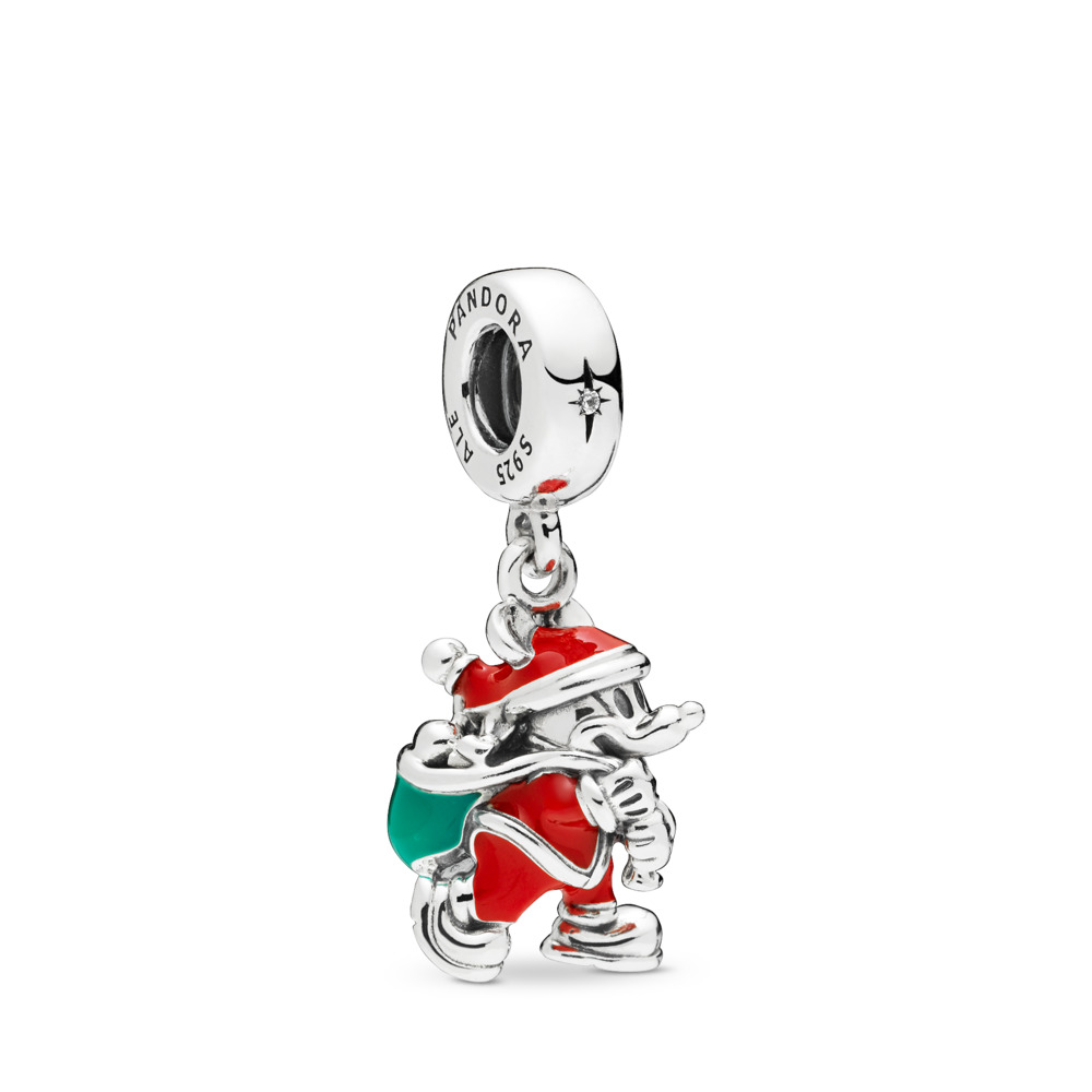 Disney, Santa Mickey & Gift Bag Dangle Charm, Red & Green Enamel, Sterling silver, Enamel, Green, Cubic Zirconia - PANDORA - #797501ENMX
