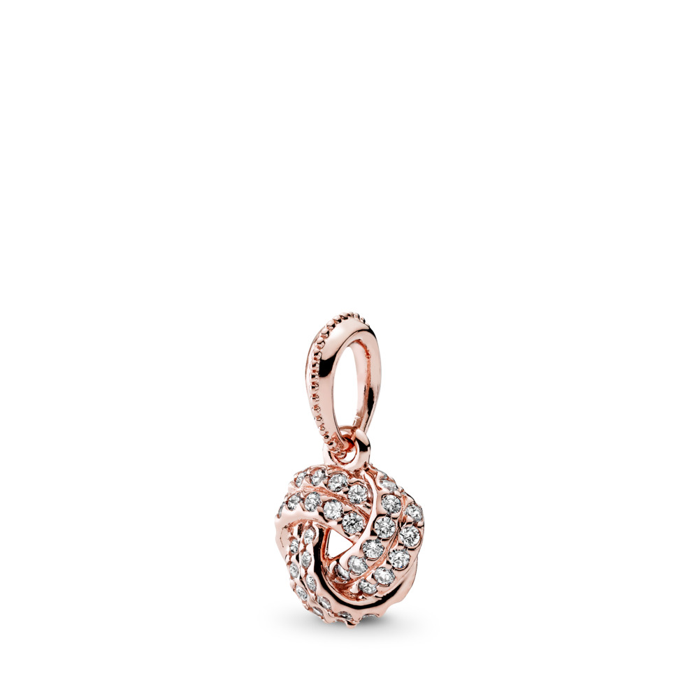 Sparkling Love Knot Pendant, PANDORA Rose™ & Clear CZ, PANDORA Rose, Cubic Zirconia - PANDORA - #380385CZ