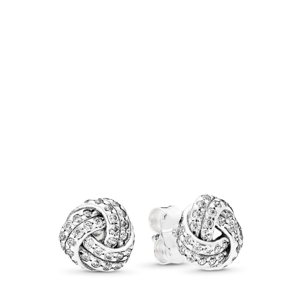Sparkling Love Knots Stud Earrings, Clear CZ, Sterling silver, Cubic Zirconia - PANDORA - #290696CZ