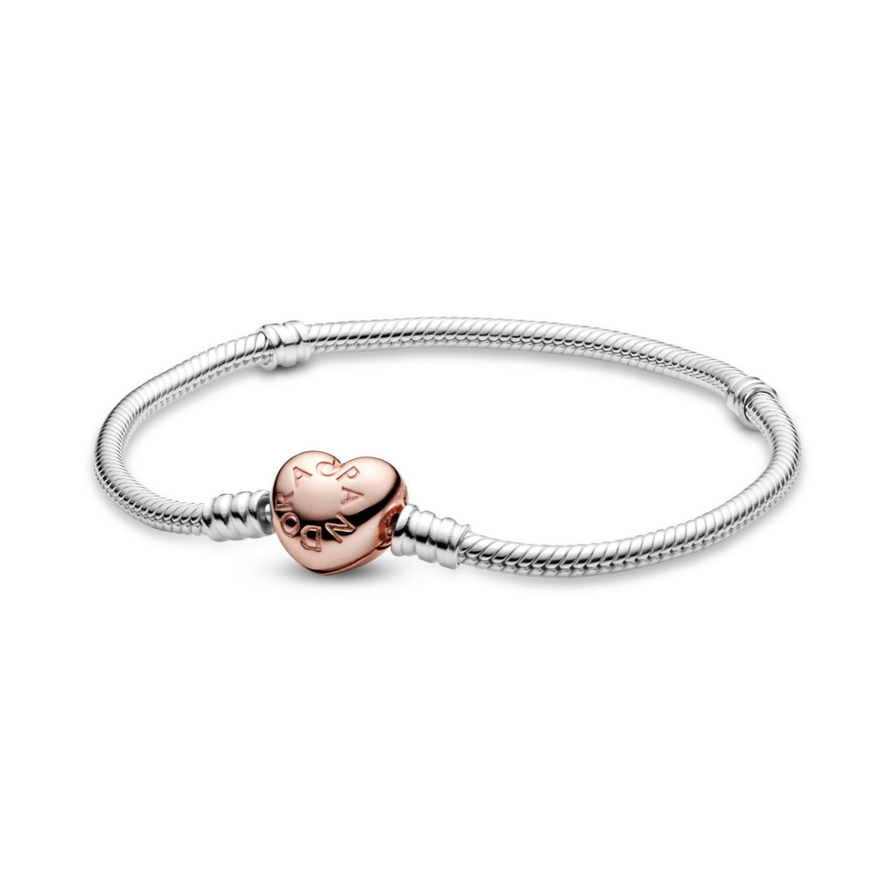 Moments Heart & Snake Chain Bracelet, PANDORA Rose with sterling silver - PANDORA - #580719