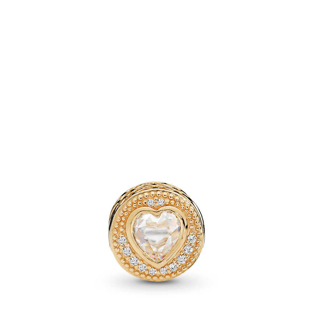 LOVE Charm, 14K Gold & Clear CZ, Two Tone, Silicone, Cubic Zirconia - PANDORA - #796307CZ
