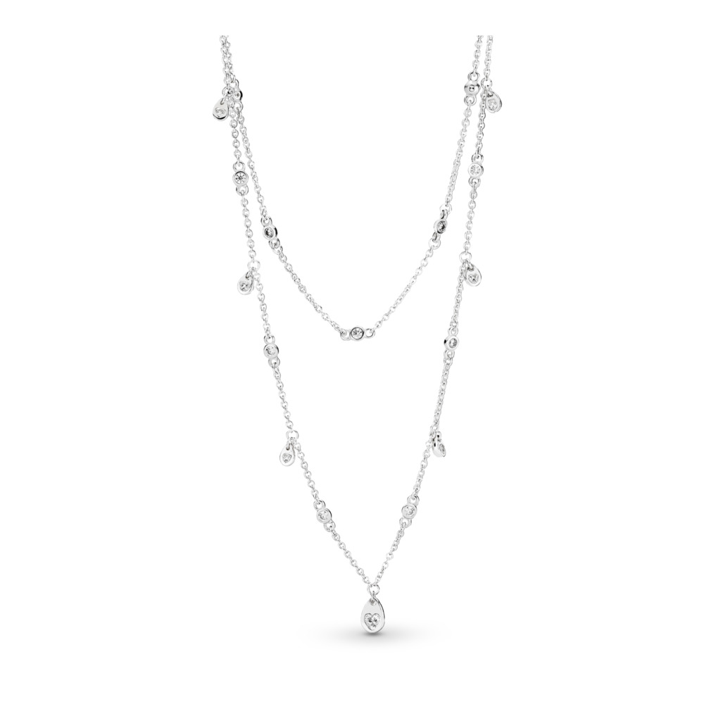Chandelier Droplets Necklace, Sterling silver, Cubic Zirconia - PANDORA - #397084CZ