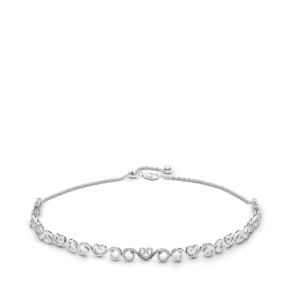 Heart Swirls Choker Necklace, Clear CZ, Sterling silver, Silicone, Cubic Zirconia - PANDORA - #397129CZ