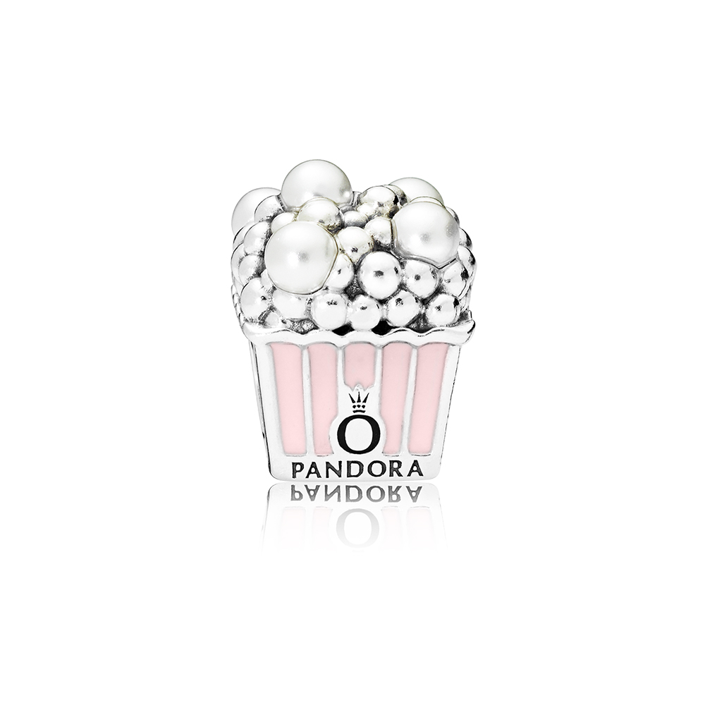 Delicious Popcorn Charm, Pale Pink Enamel & White Crystal Pearls