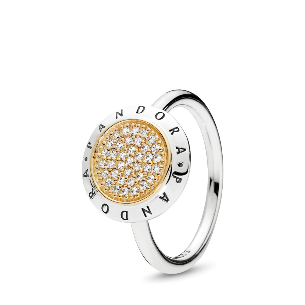 PANDORA Signature Ring, Clear CZ, Two Tone, Cubic Zirconia - PANDORA - #196231CZ