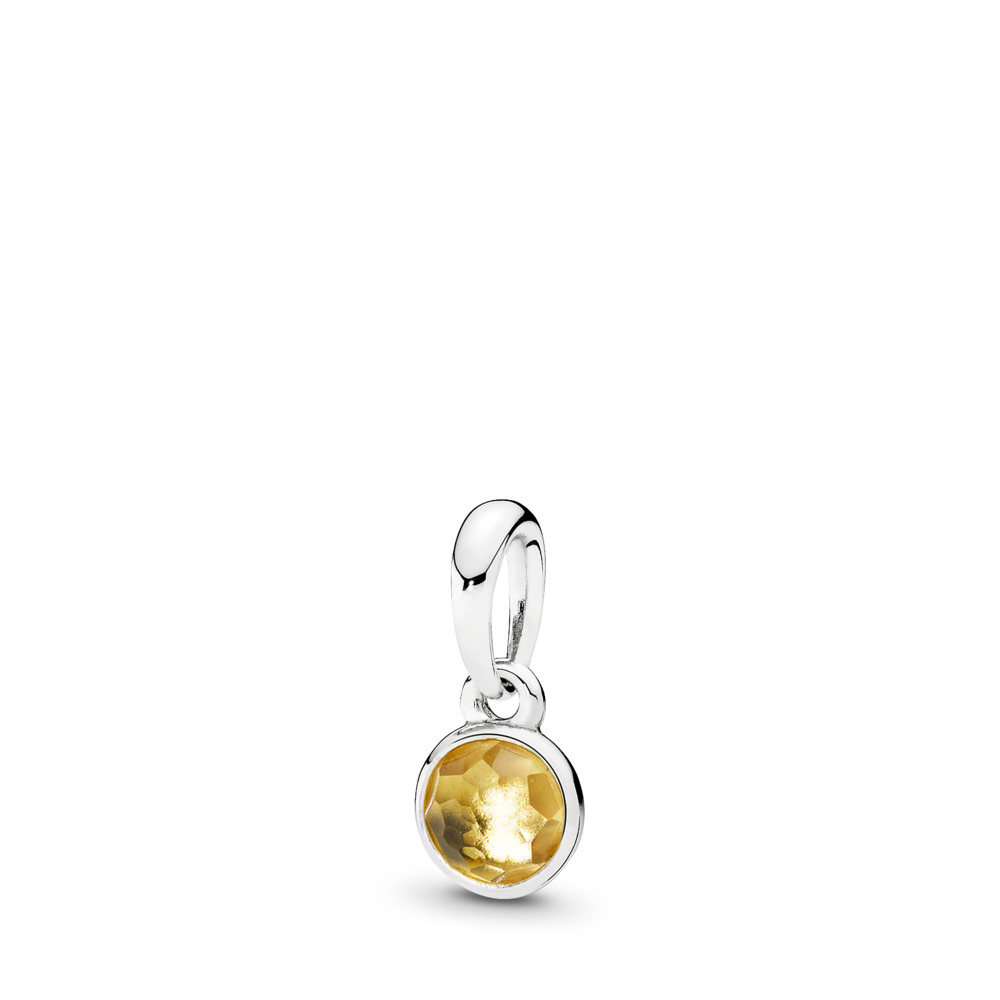 November Droplet Pendant, Citrine, Sterling silver, Yellow, Citrine - PANDORA - #390396CI