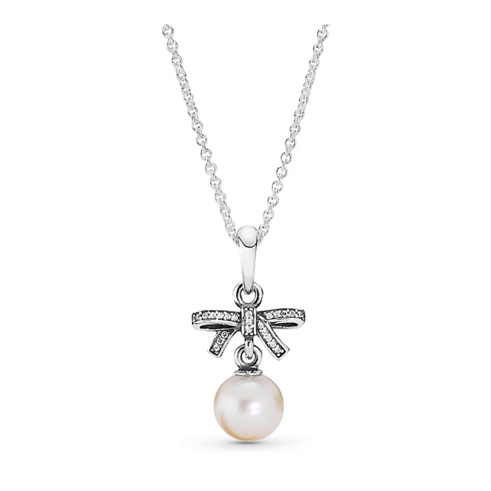 Delicate Sentiments Pendant Necklace, White Pearl & Clear CZ, Sterling silver, White, Mixed stones - PANDORA - #390380P