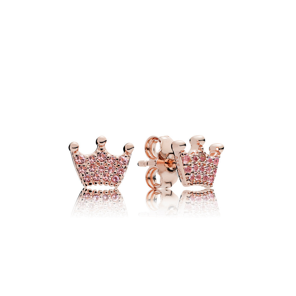 Pink Enchanted Crowns Stud Earrings, PANDORA Rose™ & Pink Crystals