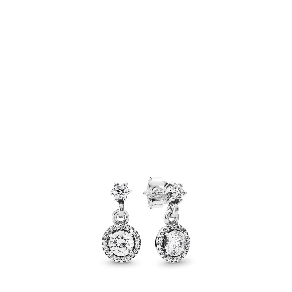 Classic Elegance Drop Earrings, Clear CZ, Sterling silver, Cubic Zirconia - PANDORA - #290594CZ