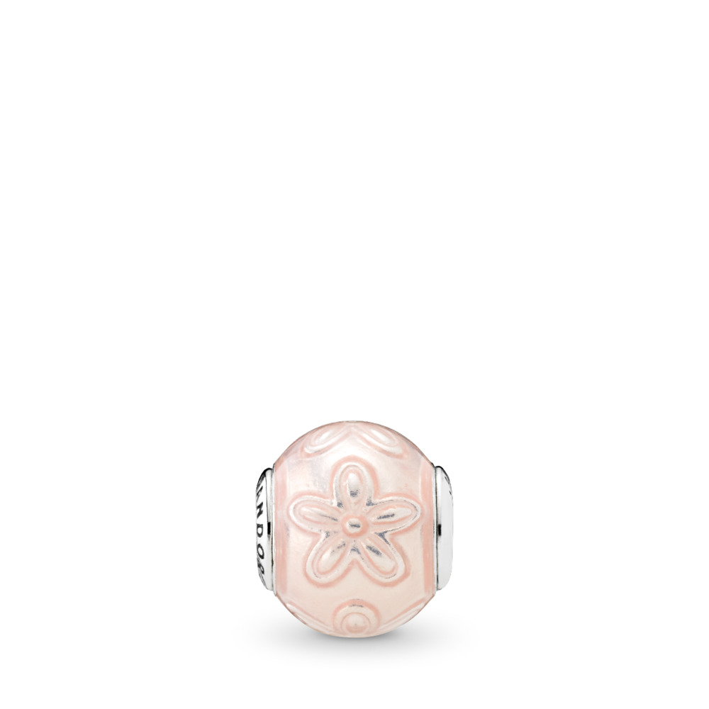 HAPPINESS Charm, Transparent Cream Pink Enamel, Sterling silver, Mixed Material, Pink - PANDORA - #796087EN141