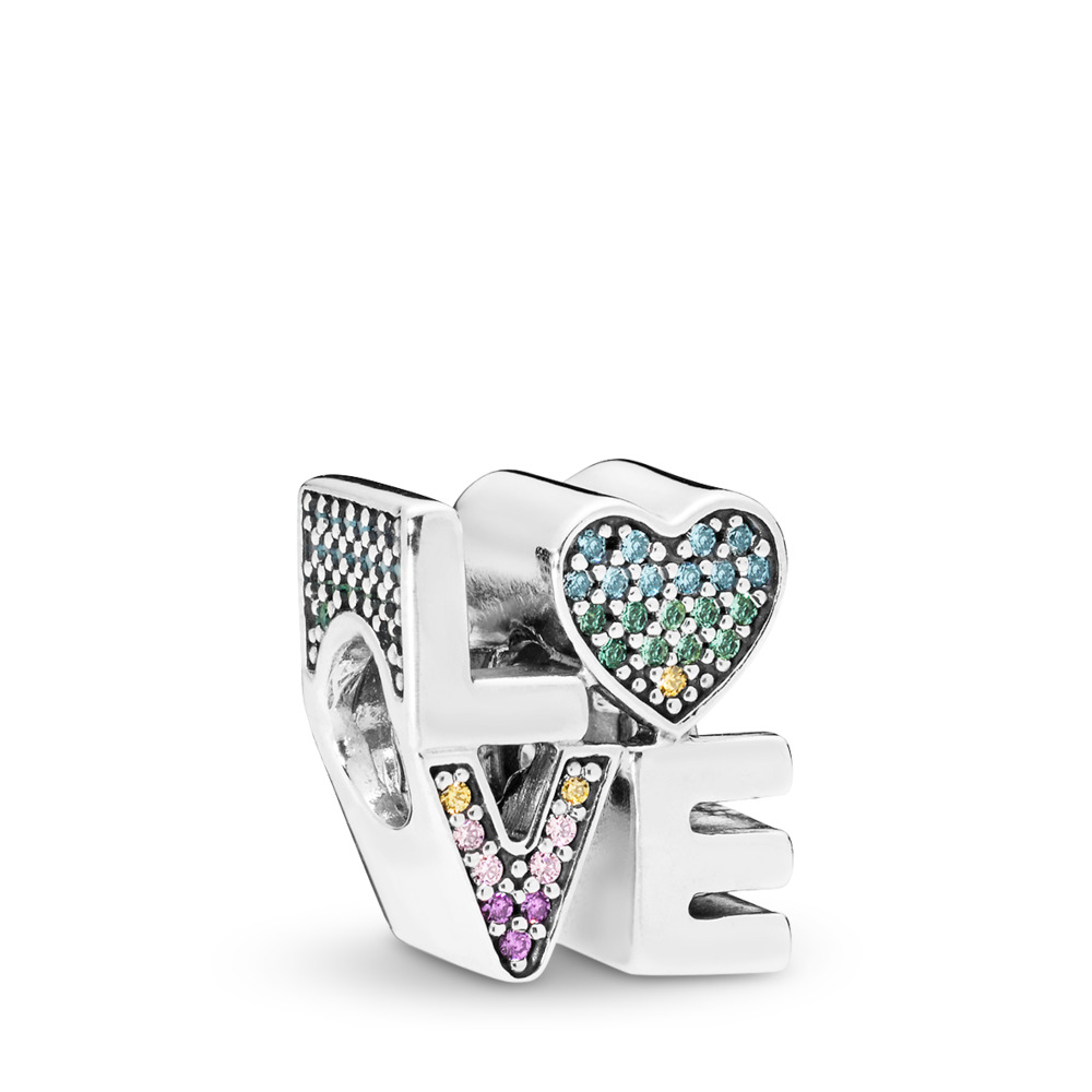 Multi-Color Love Charm, Multi-Colored CZ, Sterling silver, Blue, Mixed stones - PANDORA - #797189NRPMX
