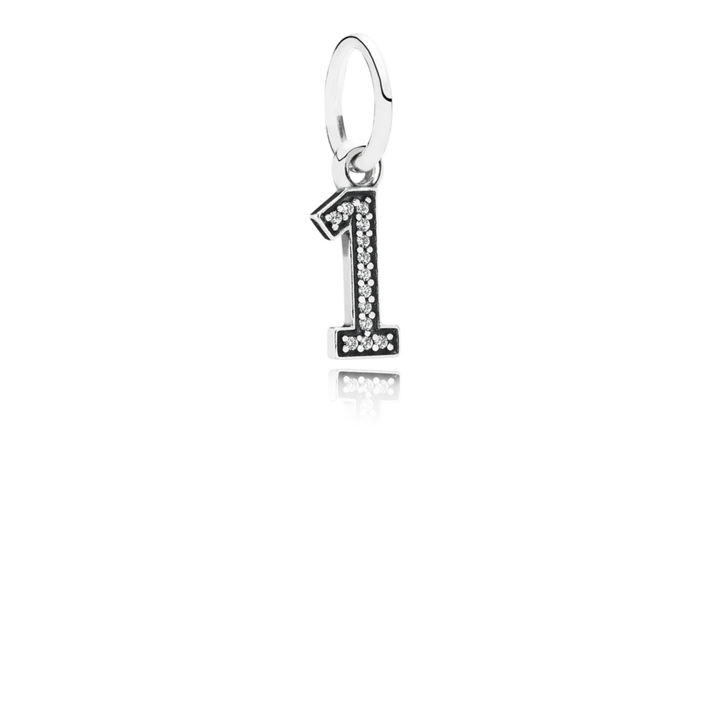 Number 1 Dangle Charm, Clear CZ