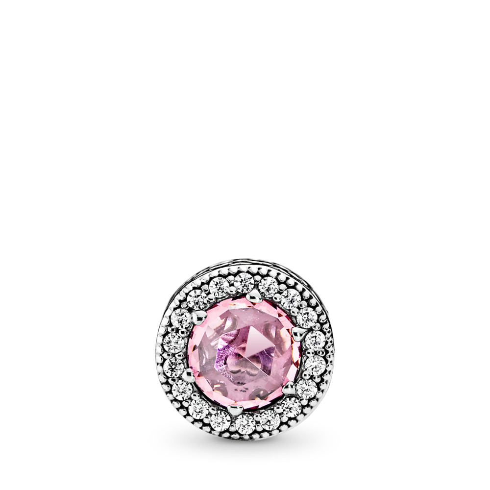 APPRECIATION Charm, Pink & Clear CZ, Sterling silver, Silicone, Pink, Cubic Zirconia - PANDORA - #796082PCZ