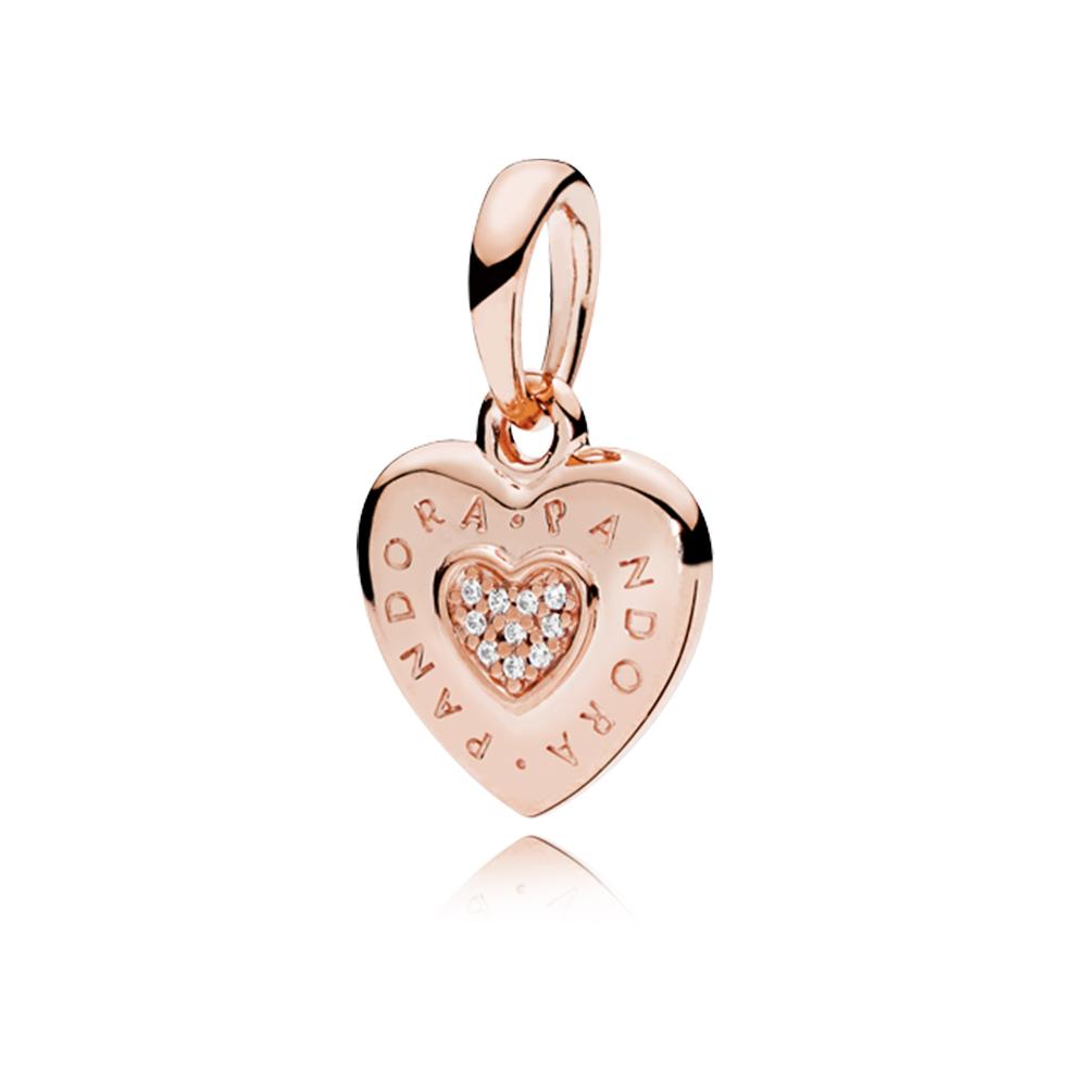 PANDORA Signature Heart Pendant, PANDORA Rose™ & Clear CZ