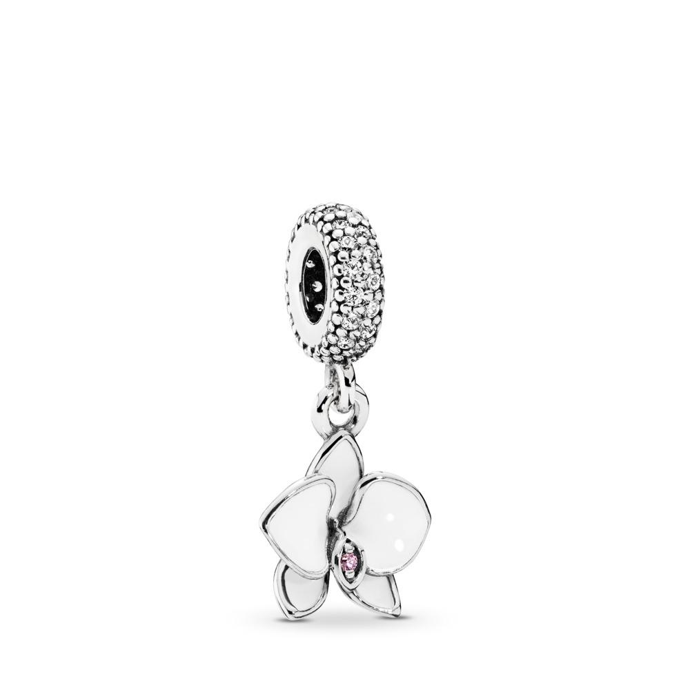 Orchid Dangle Charm, White Enamel, Clear & Orchid CZ, Sterling silver, Enamel, Pink, Cubic Zirconia - PANDORA - #791554EN12