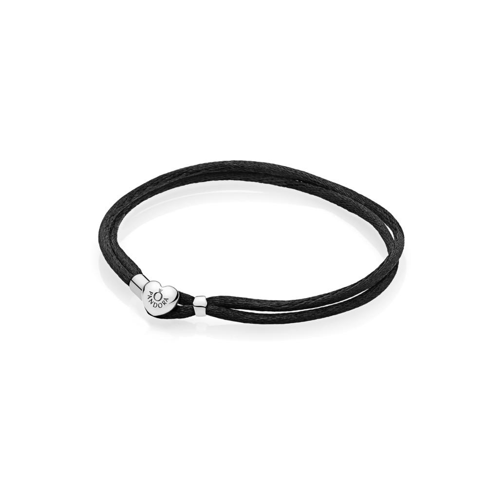 Brazalete de cordón de tela, negra, Plata, Fibras sintéticas/textil, Negro, Sin piedra - PANDORA - #590749CBK-S